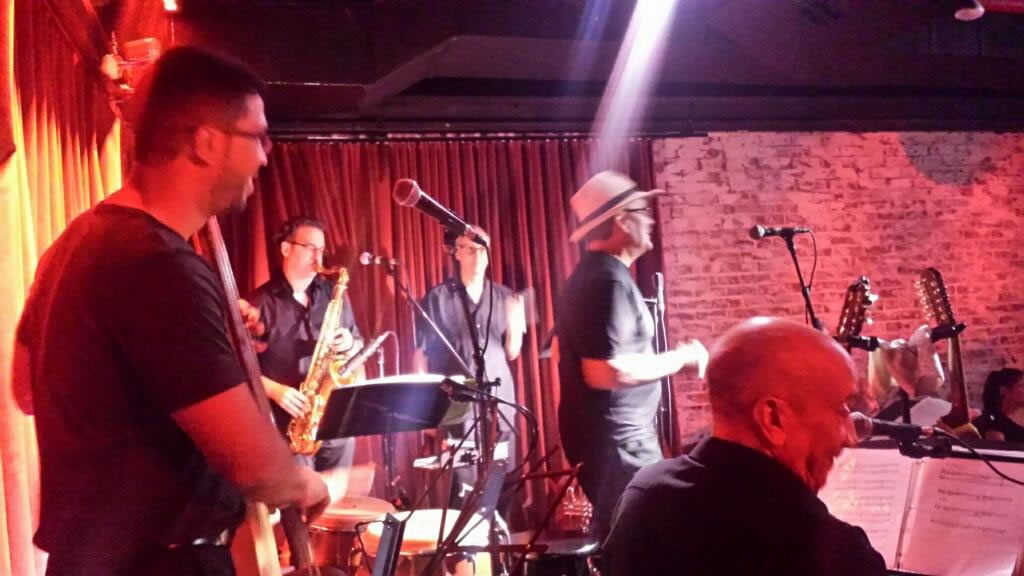Sonido-Costeno-backstage-shot-bass-piano-conga-trumpet-sax-guitar-Subrosa-Blue-Note-Group-Highline-ballroom-club-NYC