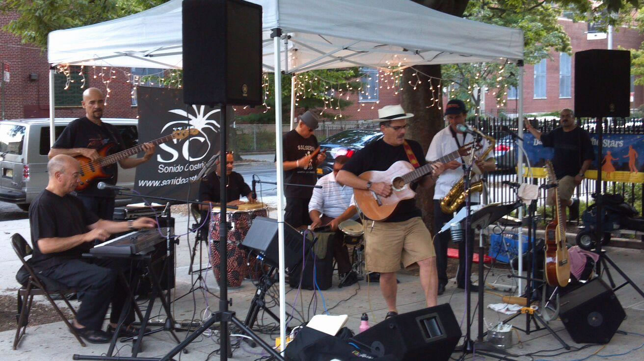 sonido-costeno-band-under-tent-Fifth-Ave-Park-Slope-BID-dance-under-the-Stars-Brooklyn-NY
